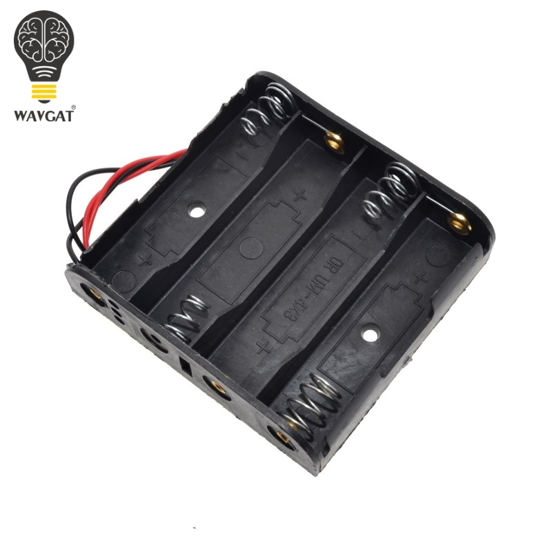 New Plastic Standard Size 4 AA Battery Case Holder Box For 4pcs Size AA Batteries With Wire Leads
