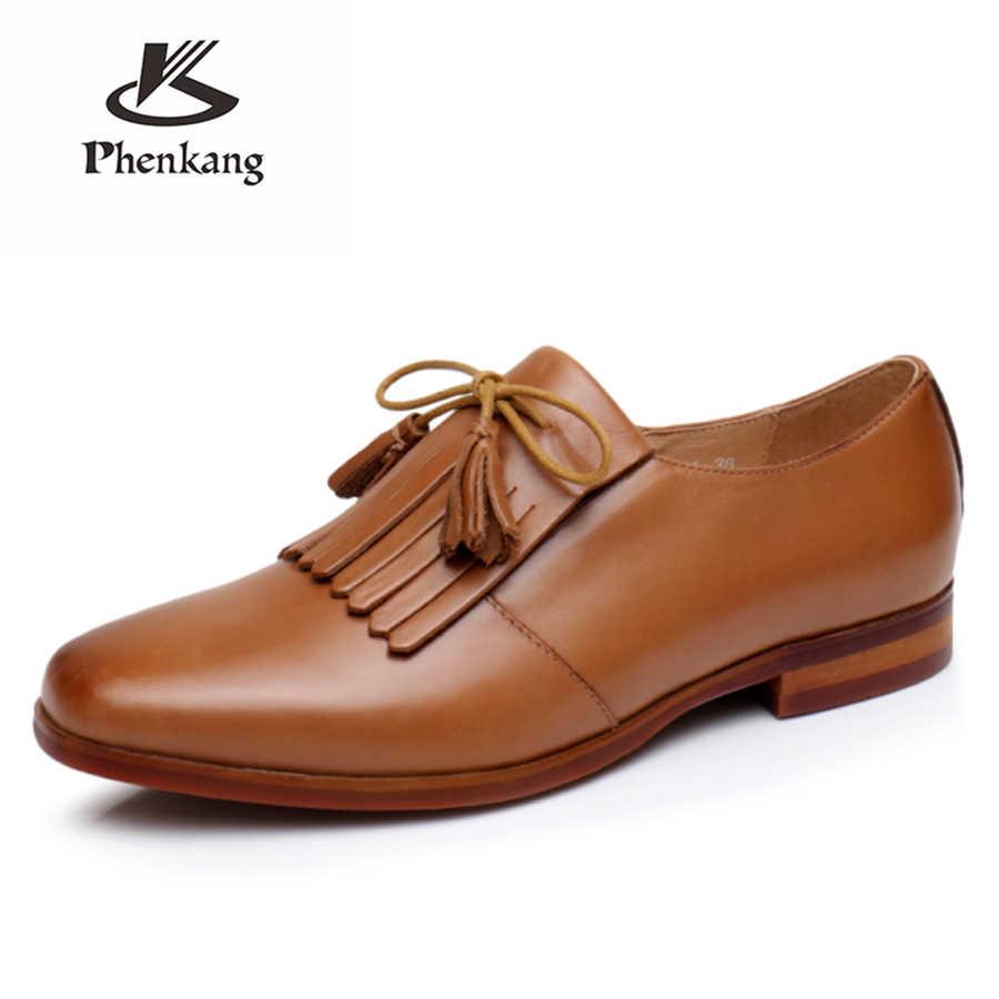 100% Vera pelle di pecora francesine in pelle designer yinzo dell'annata delle signore appartamenti scarpe fatte a mano rosso beige marrone oxford scarpe per le donne