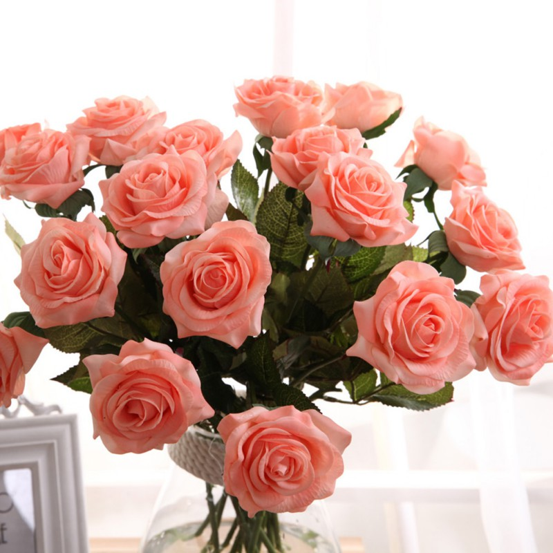 ᗛNew Artificial Silk Latex Rose Flowers Wedding Bouquet Bridal ...