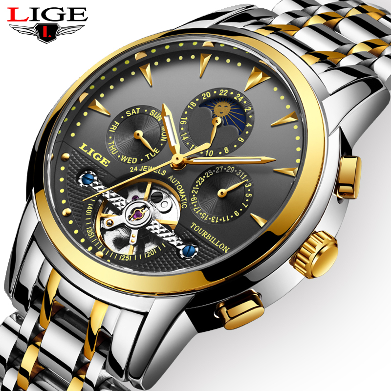 LIGE Mens Watches Automatic Mechanical Top Brand Luxury Watch Men Full Steel Business Waterproof Sport Watches