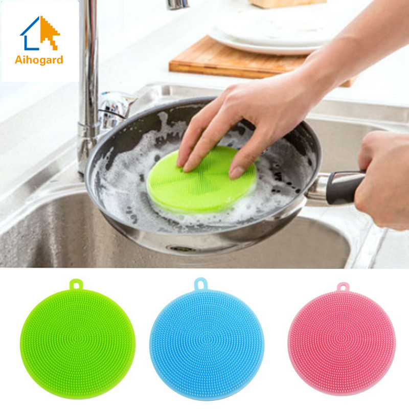 1pcs Magic Silicone Dish Bowl Cleaning Brushes Scouring Pad Pot Pan Wash Brushes Cleaner Kitchen Accessories Dish Washing Brush