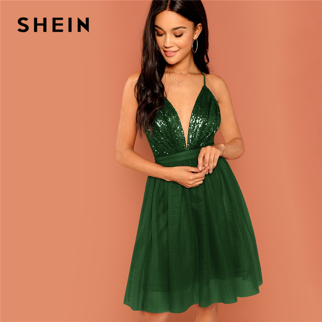 SHEIN Green Sequin Detail Mesh Halter Dress Deep V Neck Fit Flare Sexy  Solid Mini Dress