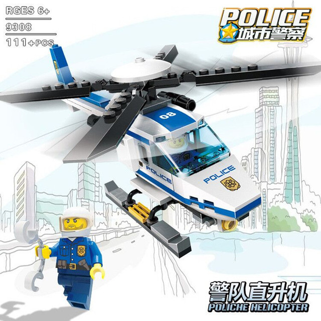 111pcs/set Aircraft Model Building Blocks Toy Airplane Helicopter Assemble Toy