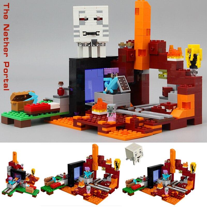 LEPIN My World Minecraft Nether Portal Building Blocks Mini Bricks Figures Farm toys for children Compatible legoING 21143 21146 lepin my world minecraft 18038 527pcs the nether portal building blocks bricks enlighten toys for children compatible with 21143