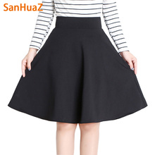 SanHuaZ Autumn Winter Skirts Women 2017 Long Pleated Midi A-Line Skirt High Waist Red Black Female Skirt Formal Faldas