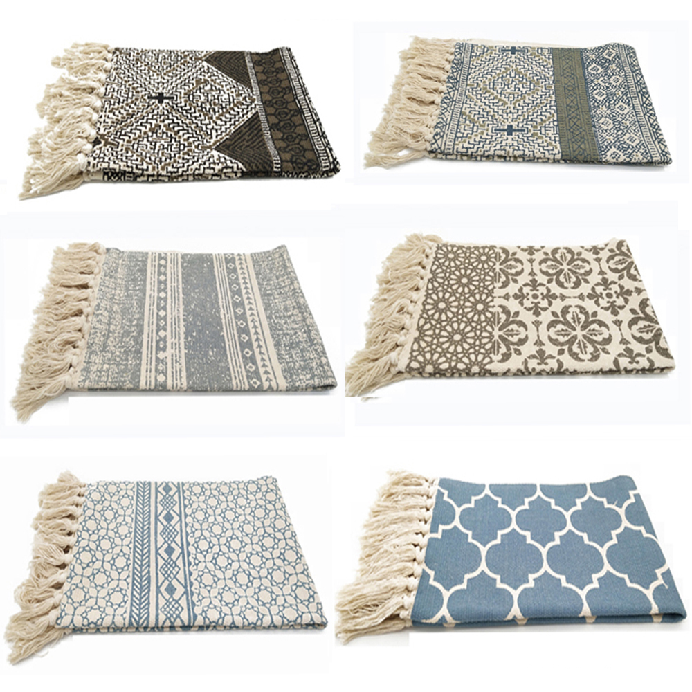 Handmade Cotton Woven Rugs Machine Washable Durable Area Rug Black Striped Geometry Carpet For Living Room Bedroom Floor Mat