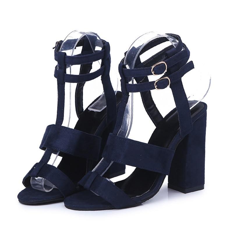 Lacets 6o0095 Cheville Mode 2018 Daim Sexy Chaussures Talons Sangle Sandales New Summer En bleu Hauts ivoire Noir Femmes Boucle À wPCqfgw