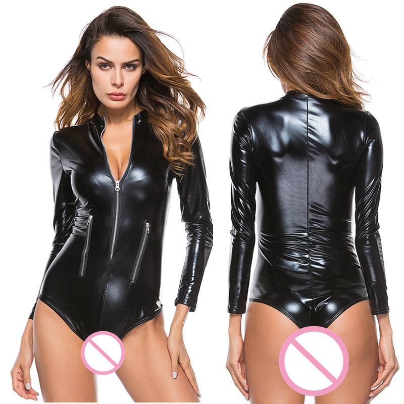 Buy Sexy Lingerie Hot PU Leather Latex Patchwork Night Dress Teddy Clubwear Sexy Costumes Erotic Lingerie Sexy Babydoll dress