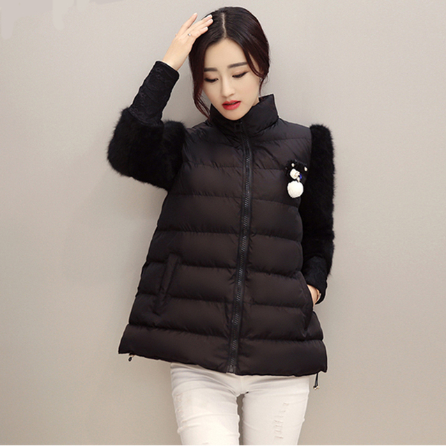 Stand Collar Lace Patchwork Long-Sleeve Wadded Jacket Female Short Deign Thermal Cotton-Padded Jacket Outerwear Female