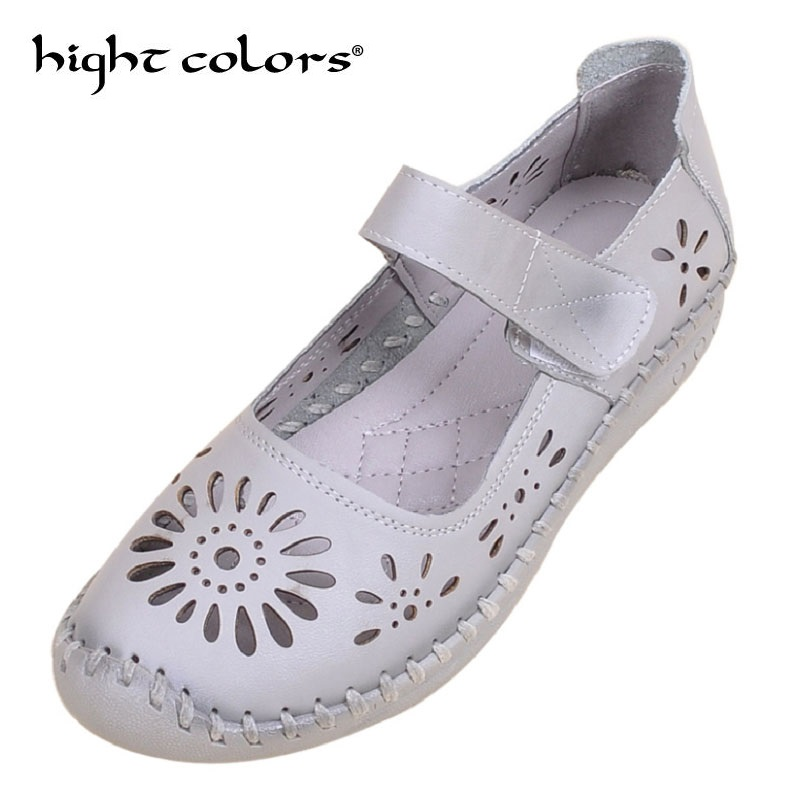 Genuine Leather Breathable Soft Flat Shoes Summer Women Shoes Woman Casual Solid Mary Janes Women Sandals Size 40 discount 2018 fashion leather casual flat shoes women sandals summer shoes flat hollow comfortable breathable size 34 44