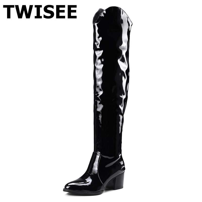 TWISEE Women Spring Autumn Pointed Toe Winter Vintage Thick Heels Boots pu Patent Leather Plush Thick Warm Lady Square heel Boot women patent leather lace up short plush thick warm ankle boots low heels fashion round toe no plush spring autumn boots 0221