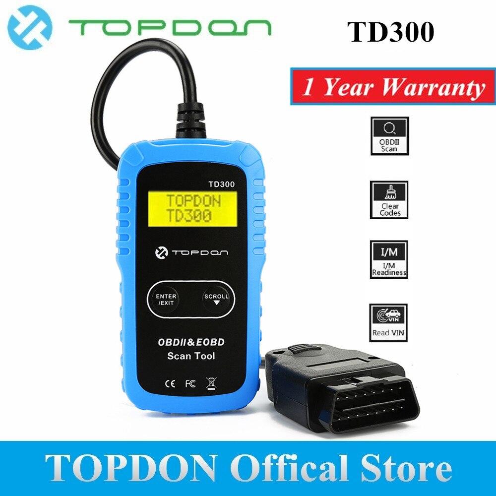 TOPDON TD300 OBD2 escáner Auto herramienta de diagnóstico del lector de código de exploración automotriz Autoscanner OBDII OBD 2 explorador Autel AL301 MS300