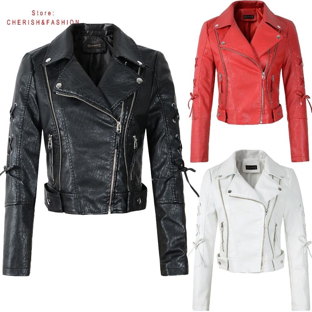2019 New Arrival Women Autumn Winter Black Faux   Leather   Jackets Lady Fashion Brand Motorcycle Coat Biker Red Beige Outwear HOT