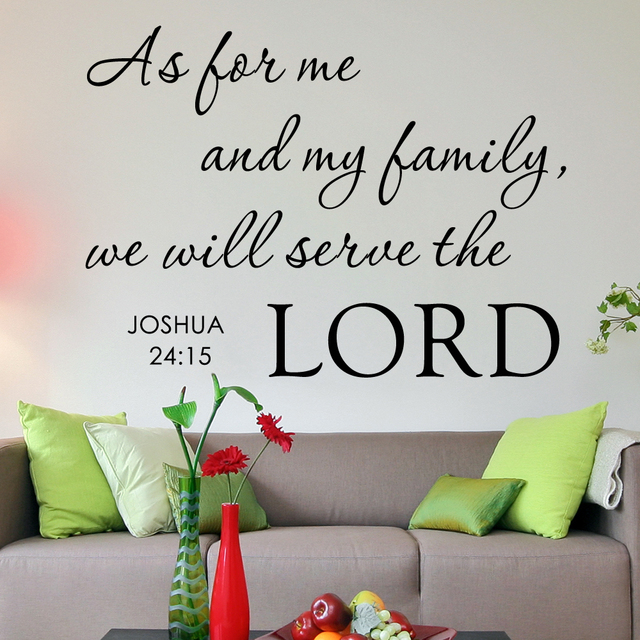 f351dfe3a64 As for Me And My Family We Will Serve the Lord - Home Religious God Bible  Vinyl Quote Art Wall Decal Sticker 16
