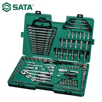 цена на SATA 150Pcs 1/4 3/8 Combination Sleeve Ratchet Wrench Screwdriver Auto Maintenance Tool Car Repair Set 09510