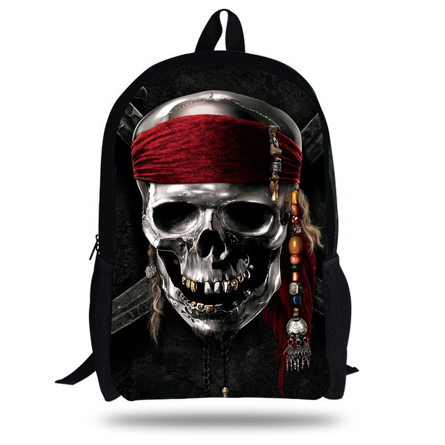823a1bf89bea 16-inch Mochila Skull Backpack School Kids Bags Boys Backpack Child Black  Skull Bag Pirates of the Caribbean Jack Sparrow Print