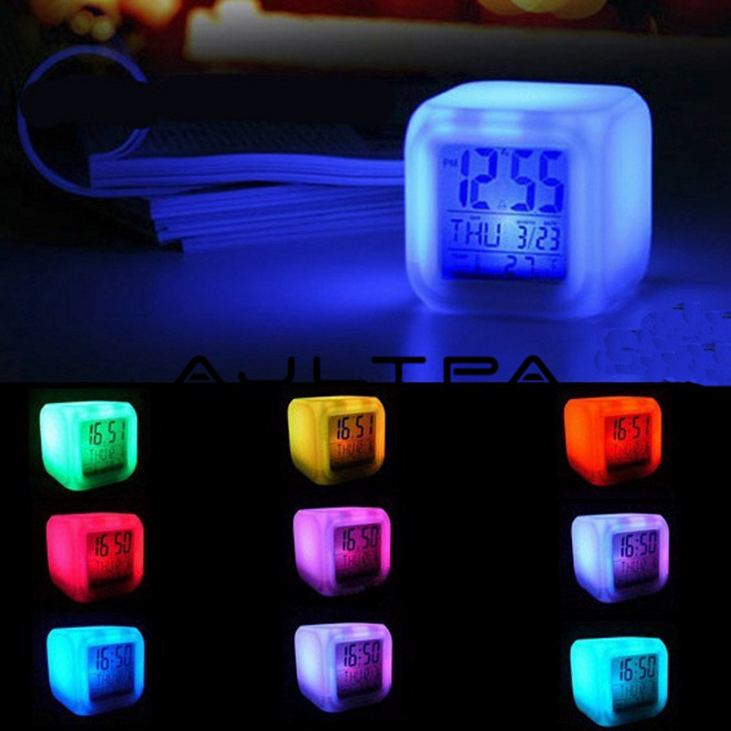 7 Color Glowing Change Alarm Clock Digital Clock Thermometer Cube LED Clock Time Data Week And Temperature Display