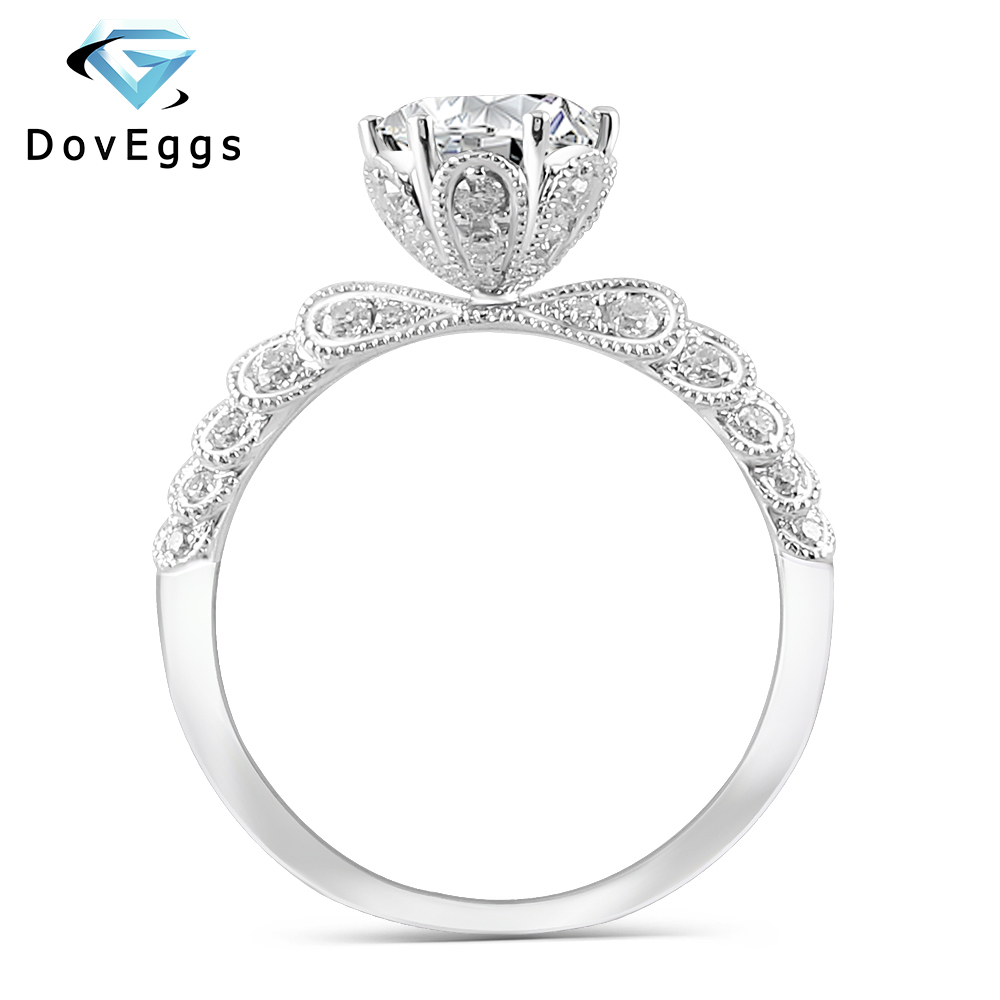 DovEggs 14K White Gold Center 1ct Carat 6.5mm F Color Moissanite Diamond Engagement Rings For Women Wedding Ring with Accents