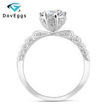 DovEggs 14K białe złoto centrum 1ct Carat 6.5mm F kolor Moissanite diamentowe pierścionki zaręczynowe dla kobiet obrączka z akcentami