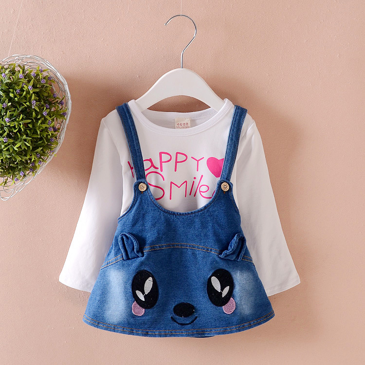 Baby Girl Clothes 2017 Korean Lovely Long Sleeved T-shirt Tops Cowboy Braces Skirt Two Piece Set Outfit Kids Bebes Jogging Suits 2pcs children outfit clothes kids baby girl off shoulder cotton ruffled sleeve tops striped t shirt blue denim jeans sunsuit set