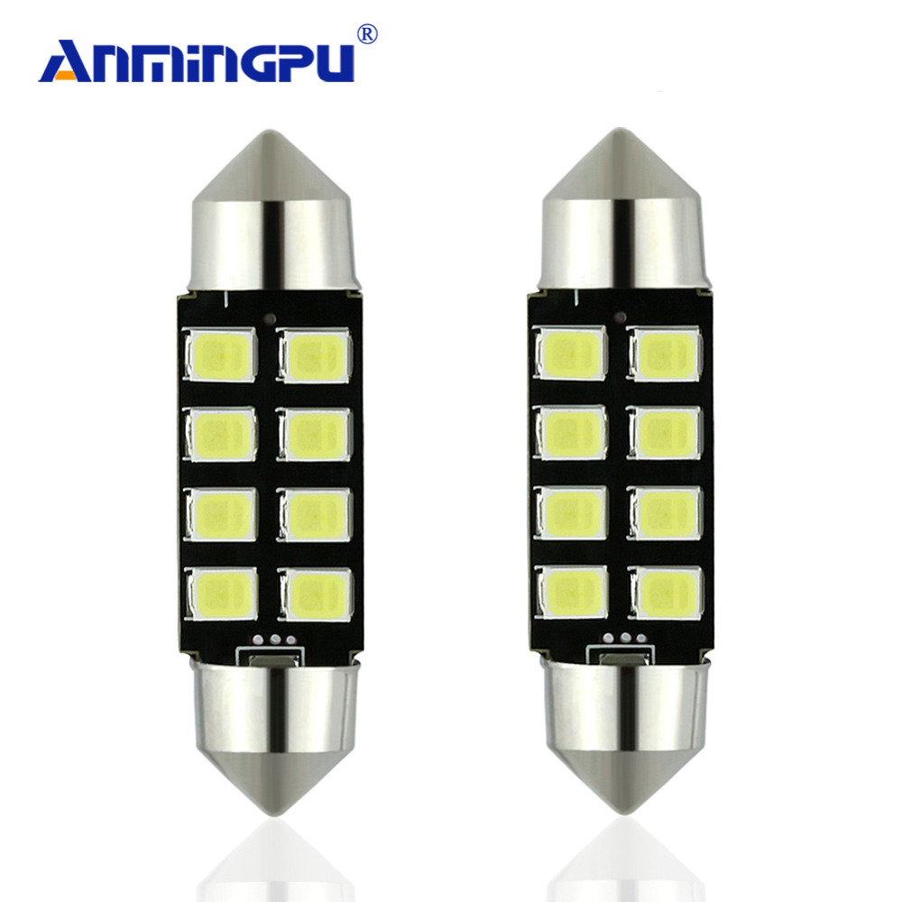 ANMINGPU 2pcs Signal Lamp 6000K C5W led C10W Bulb Car Interior light Festoon 31mm 36mm 39mm 41mm SMD Reading Dome Lamp 12V 24V nao 2x c5w led c10w bulb car interior light festoon 31mm 36mm 39mm 41mm smd 3030 cob reading dome lamp 12v 24v 6000k white