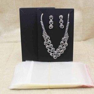 Image 5 - 15.5*9.5 cm zwart/kraft grote kostuum ketting met oorbel card grote sieraden set pakket tonen kaart 100 stks + 100 wedstrijd tas