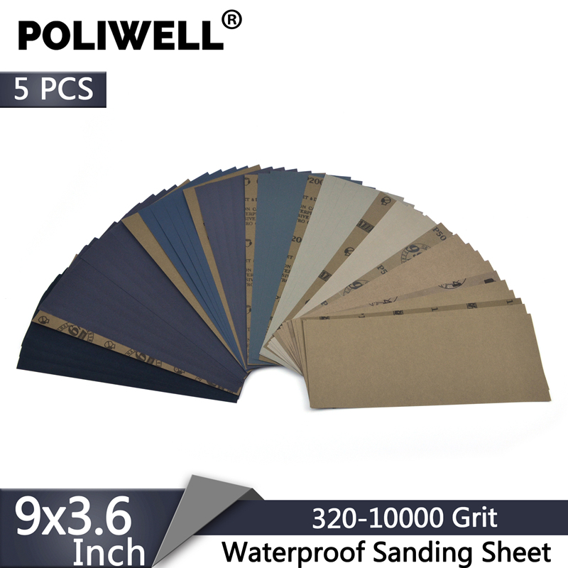 POLIWELL Sanding Sheets 9x3.6 Inch Waterproof Sandpaper 320-10000 Grit Wet Dry Sanding Paper For Car Wood Metal Polishing 5PCS