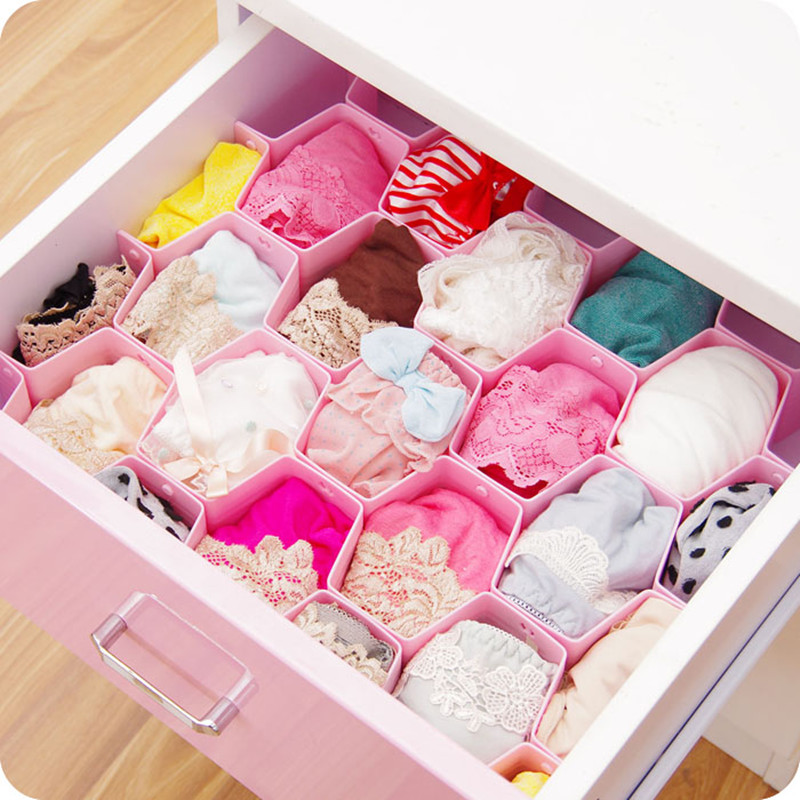 8 Pcs Lot Pink Plastic Drawer Organizer Beehive Shape