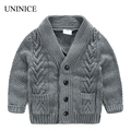 Uninice boys suéter 2017 primavera new baby kids cardigan coat niños chaqueta 2-8y niños del estilo ocasional hecho punto prendas de vestir exteriores