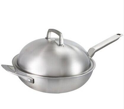 Free Shipping Wok 5 Ply Stainless Steel Wok Pan Cooking Wok Cookware