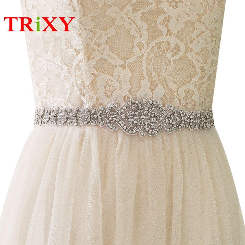 Frank Trixy S175 Silber Strass Braut Gürtel Kristall Perlen Bänder Hochzeit Gürtel Schärpe Braut Brautjungfern Kleider Zubehör SchöNer Auftritt