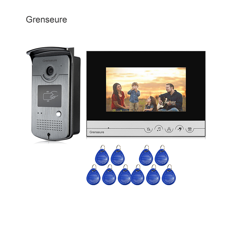 Free Shipping New 7 Color Screen LCD Video Door Phone Intercom System + 1 Monitor + Metal RFID Reader Access Doorbell Camera free shipping n116bge e32 n116bge ea2 n116bge e42 n116bge eb2 lcd b116xtn01 0 screen edp lcd monitor