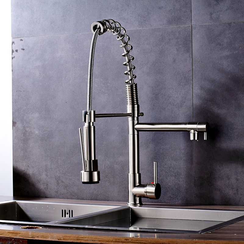 Uythner Brushed Nickel Deck Mounted Kitchen Faucet Mixer Tap with Cover Plate Factory Direct Sale