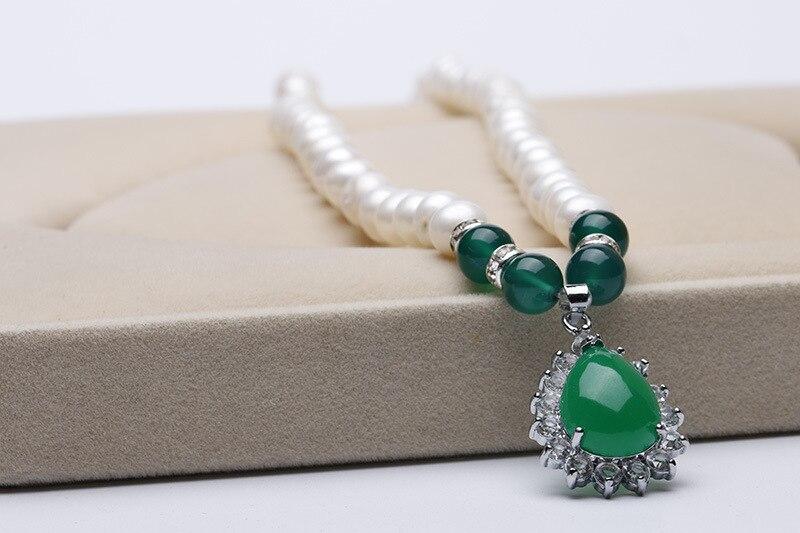 Collier de perles d'eau douce blanches naturelles 8-10mm, collier pendentif, ensemble de collier, est le meilleur cadeau pour les gens - 4