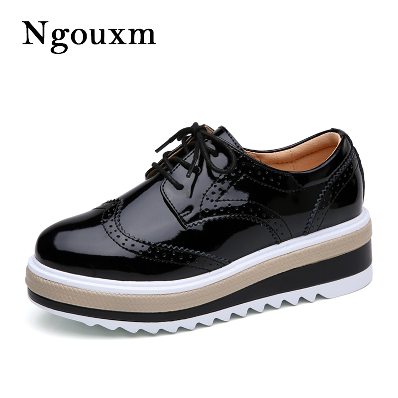 Ngouxm Women's genuine Leather Oxfords platform Shoes 2018 Casual Flats Brogue Lace Up Derby shoes Woman oxford shoes for women qmn women snake effect leather brogue shoes women round toe platform oxfords shoes woman genuine leather casual platform flats