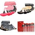 Professional 24 pcs Maquiagem Escova Ferramentas Make-up Kit de Higiene Pessoal lã marca 24 Pcs Pêlo de cabra Make Up Brushes Set com capa de couro