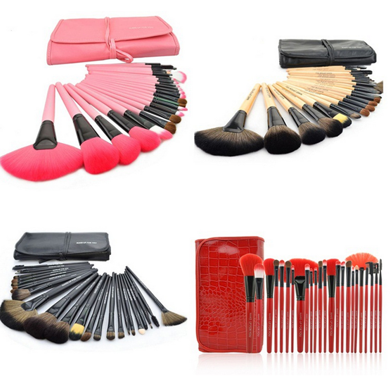 Professional 24pcs Makeup Brush Set Tools Make-up Toiletry Kit wool brand 24 Pcs Goat Hair Make Up Brushes Set with leather case hot sale 2016 soft beauty woolen 24 pcs cosmetic kit makeup brush set tools make up make up brush with case drop shipping 31