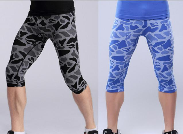 Sexy Animal Pattern Mens Compression Tights Base Layer 3/4 Shorts Trousers