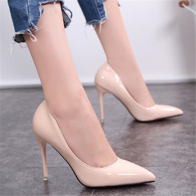 New 10cm nude color pointed high heels stiletto shallow mouth sexy black patent leather work shoes women's shoes