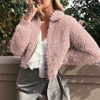 Glamaker Pink fur teddy jacket top coat Women witer long sleeve spring streetwear down coat Faux fur coat female outerwear&coats