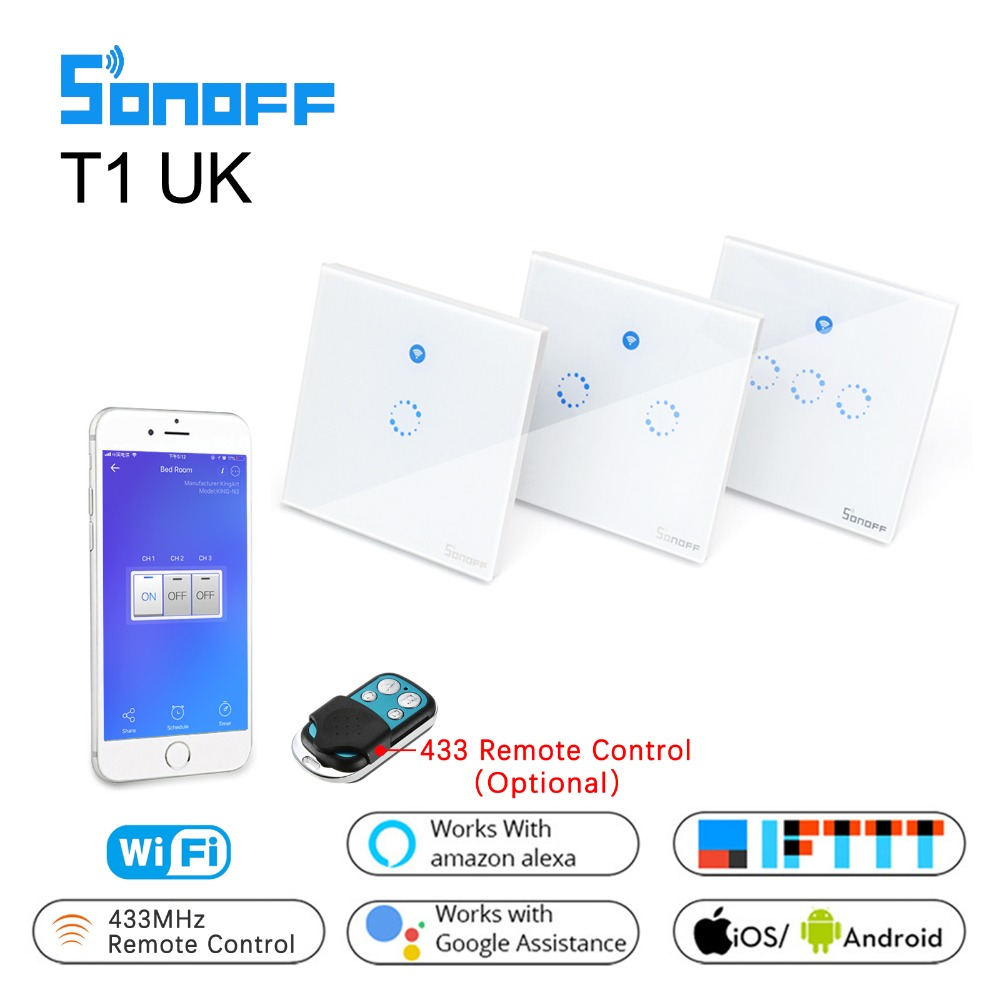 f02ea12d8867 Sonoff Wifi Wall Touch Switch T1 UK 1 2 3 Gang Glass Panel Wall light Switch