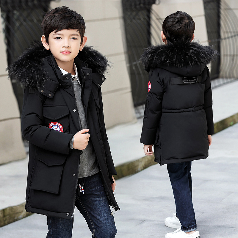 -30 Degree Children's Winter Jackets Duck Down Padded Children Clothing 2018 Big Boys Warm Winter Down Coat Thickening Outerwear creative sled dog bulldog model pinata toys pet dog piggy bank bull terrier akita dogs siberian husky dogs save money tank model