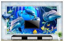 3D wallpaper custom murai non-woven wallpaper Creative Marine dolphins living room TV setting wall in the world home decoration(China)