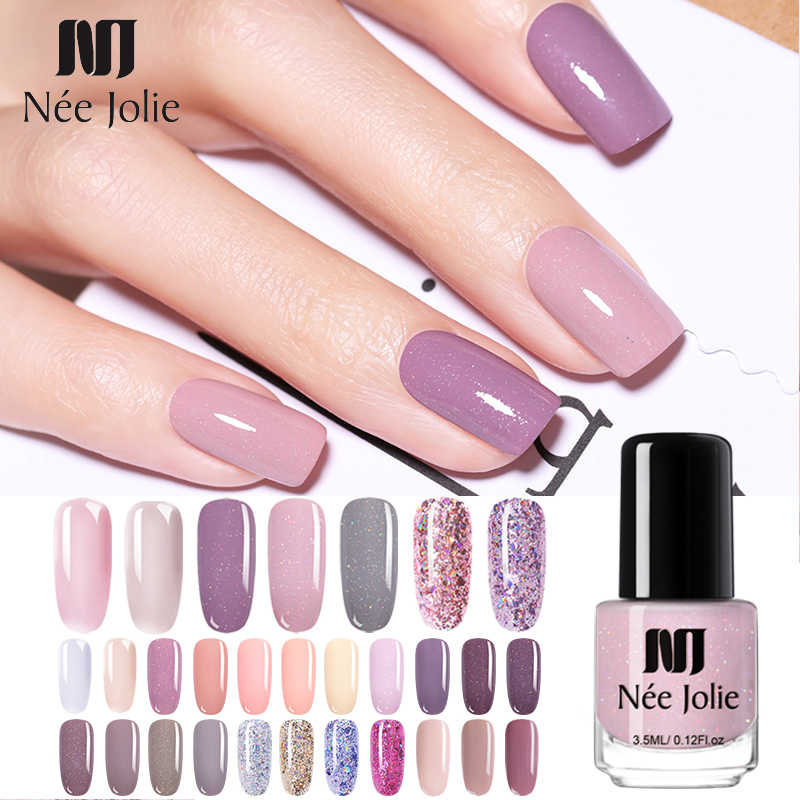 NEE JOLIE 3.5ml Nude Candy Color Nail Polish Semi-transparent  Nail Art Varnish Pink Glitter Shimmer Polish Design