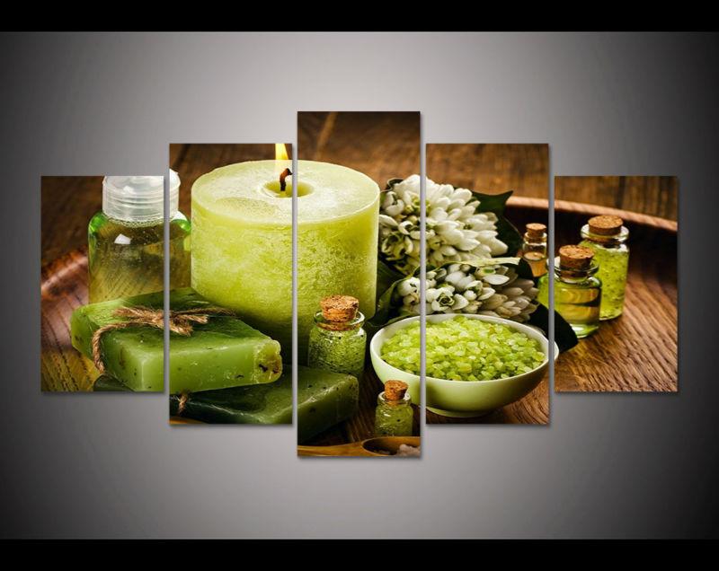 5pcs art rint green spa salts flowers Painting modern home decor ...