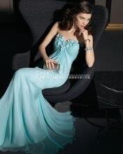 sweetheart flowers sky blue chiffon maxi dresses 2016 vestido longo casamento pleat new Fashion hot sexy long Bridesmaid Dresses