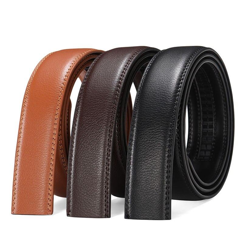 Litchi Pattern Men's Quality Genuine Leather   Belt   Without Buckle Men   Belts   Automatic Not Have   Belt   Buckle 105 130 135cm Male