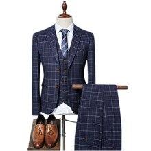 Новое поступление, высокое качество, однобортный клетчатый повседневный мужской костюм, мужские деловые костюмы, большие размеры S-3XL