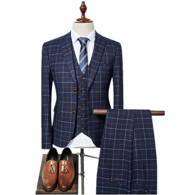 2017 new arrival High quality single Breasted plaid casual suit men,men's Business suits  plus-size S -3XL Free shipping