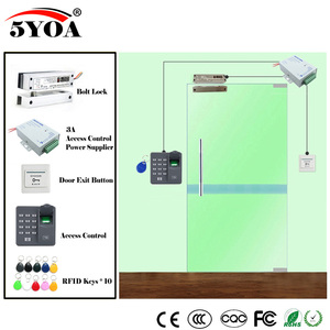 Image 4 - Impressão digital Sistema de Controle de Acesso RFID Kit Óculos De Madeira Conjunto Porta + Fechadura Magnética + ID Card Keytab + Fornecedor de Energia + botão